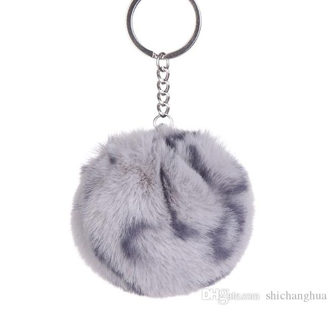 Fashion Keychain Ball Key Chain Car Keyring Holder Bag Pendant Charm Keychain Plush Key Chain Rabbit hair Key Ring Leopard grain 2019 new