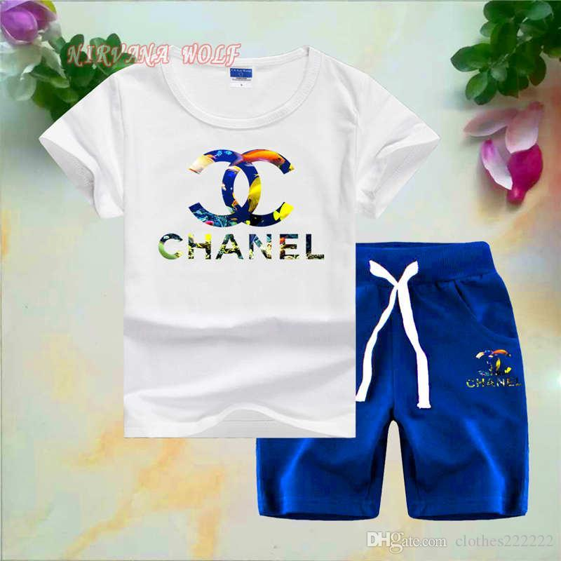 CHEL kids designer clothes boys Childrens O-neck T-shirt Short Pants 2Pcs/sets Boys Girls Pure Cotton Sea World Style Childrens Sets
