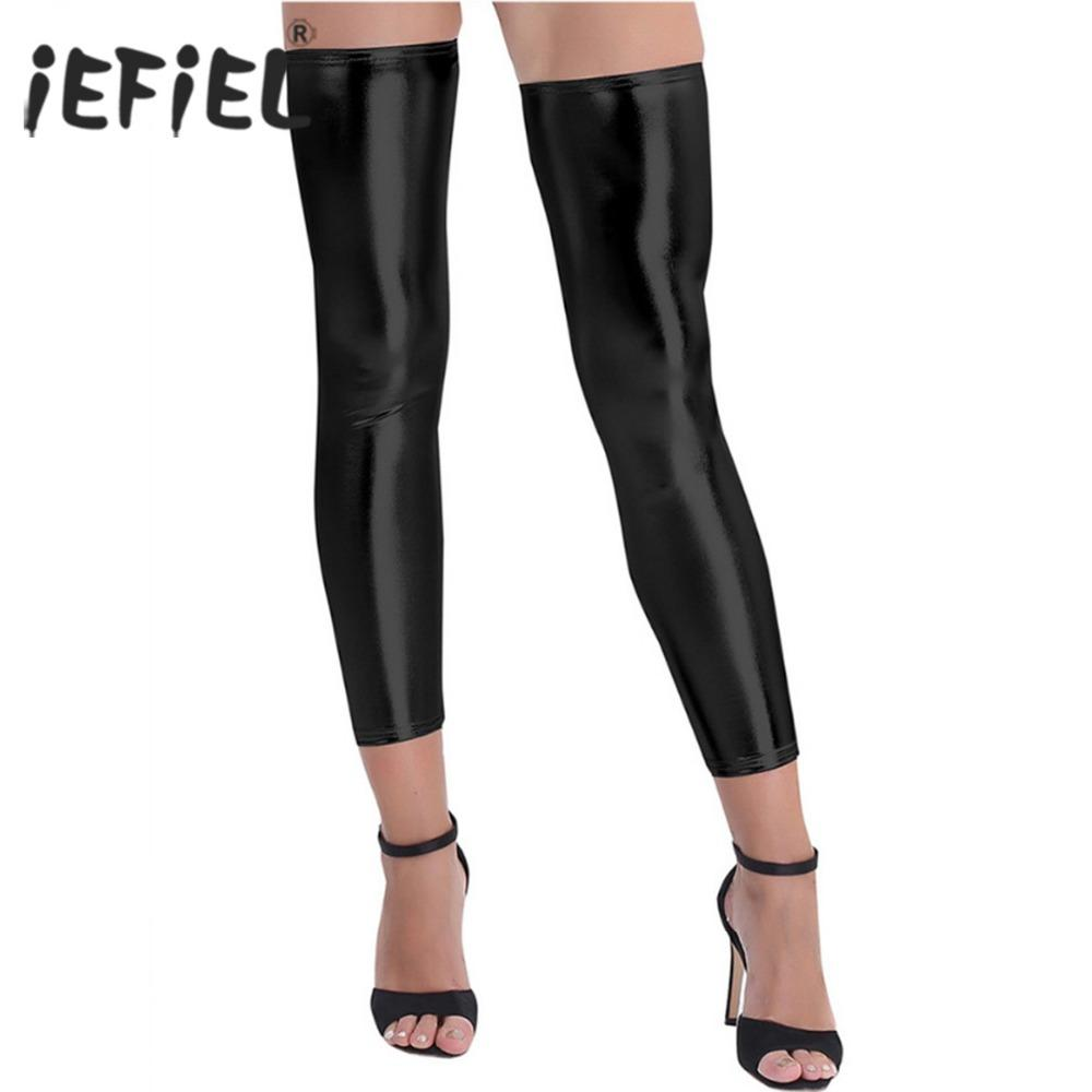 57408308ea1 2019 Tocking Costume Of Ladies Women Wetlook Shiny Stretchy Footless Thigh  High Tights Stockings Costumes Stage Performance For Fashion.
