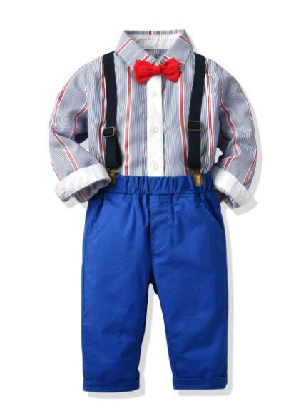 New Best-selling Children's Clothes Spring and Autumn Boy's Necktie Striped Belt Trousers Four-piece Suit Factory Direct Selling