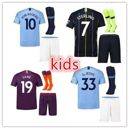 052a638df 2019 KIDS KIT 18 19 KUN AGUERO SOCCER JERSEYS MAHREZ STERLING HOME THIRD  AWAY 2018 Manchester SANE DE BRUYNE G.JESUS City BOYS FOOTBALL SHIRTS From  ...