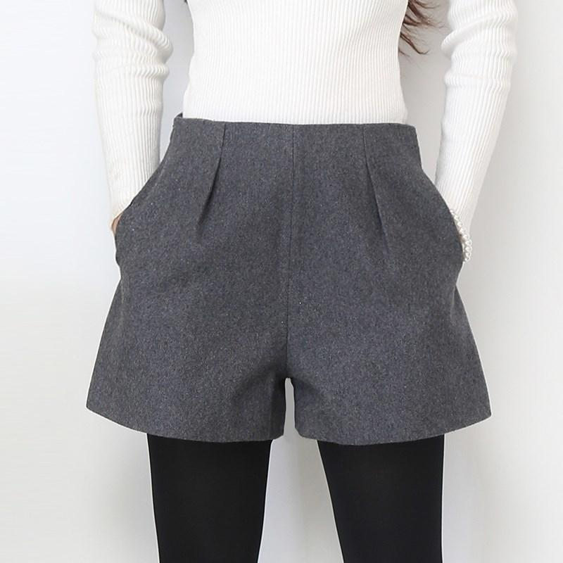 Wide Leg Winter Shorts For Women Wool Boots Shorts Candy Colors Zip Up Loose Short Pants With Pockets Female Casual Wear Y190429