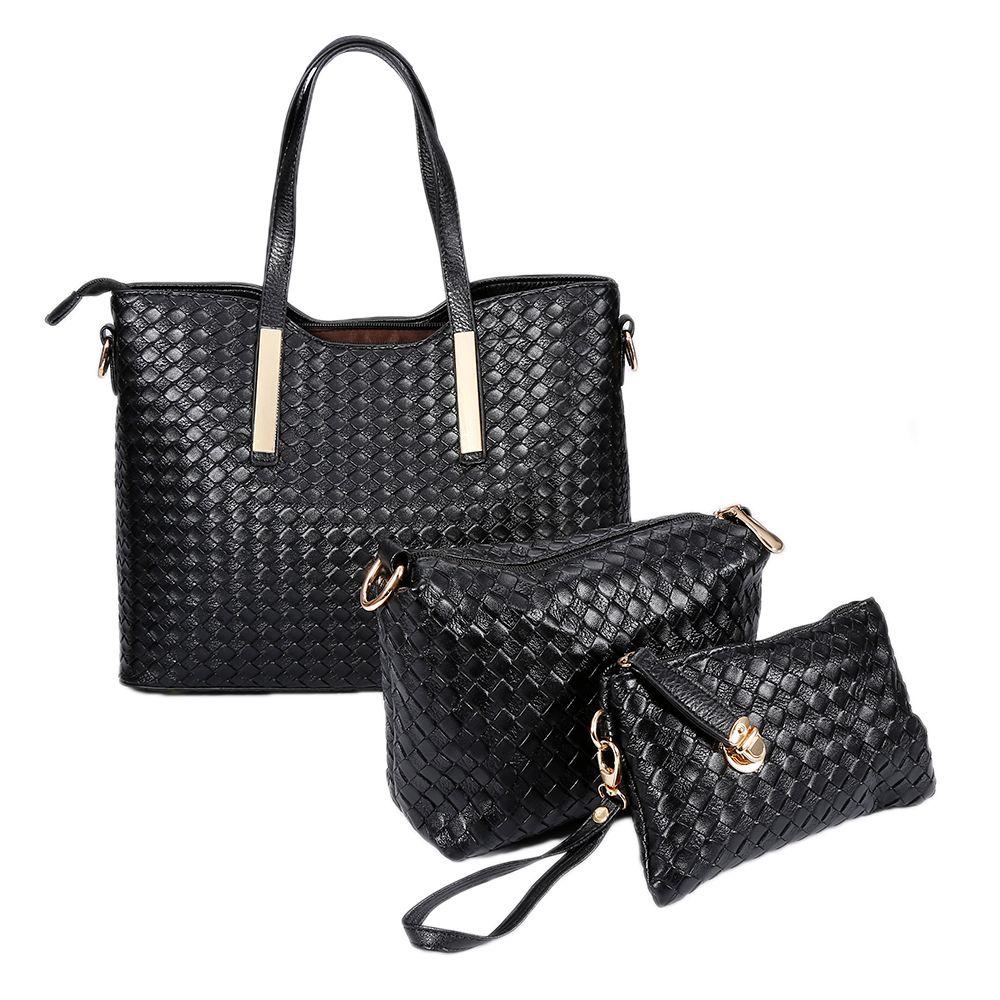 15e018381242 Fashion Women S Handbags Woven Tote Crossbody Messenger Shoulder Bags Set  Lady Bag Mummy Bag HWC UK 2019 From Begonior