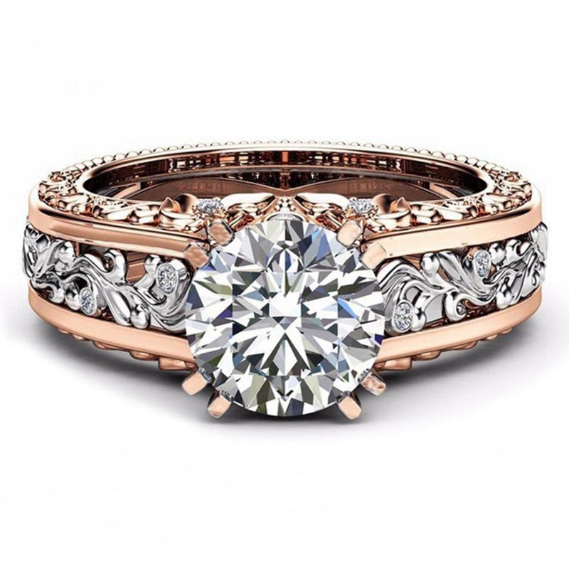 2225b835bb925 SHUANGR Fashion CZ Stone Ring Jewelry Bague Femme Rose Gold Color Leaf  Crystal Wedding Rings for Women Jewelry Gift Anillos