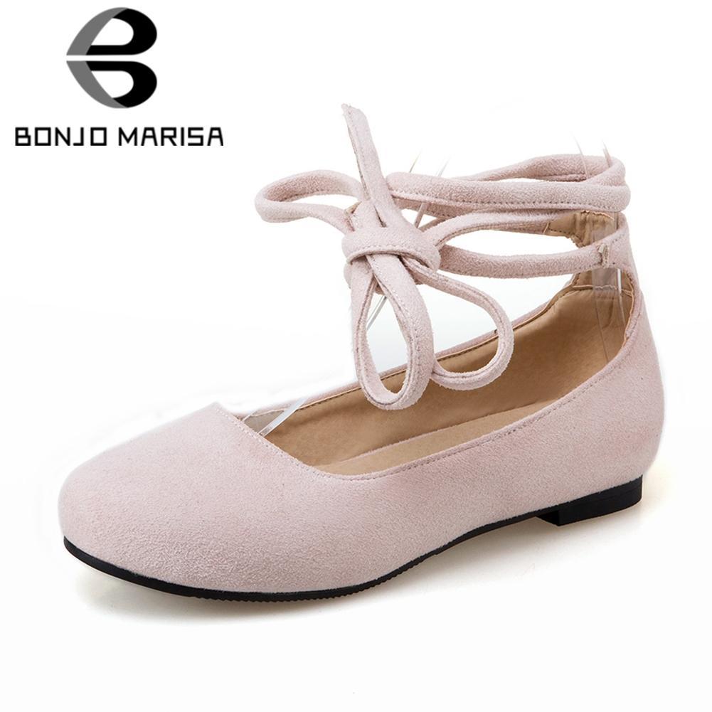 a070402432 Compre BONJOMARISA 2019 Primavera Verão Tamanho Grande 32 43 Mulheres Ankle  Wrap Ballet Flats Elegante Sapatos Rasos Mulher Casuais Sapatos De Salto  Baixo ...