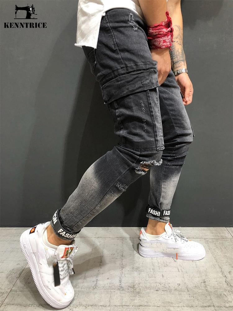 4080fa6d9d6 KENNTRICE New Men Jeans Distressed Pants Hole Jogger Skinny Jeans  Multi-pocket Motorcycle Slim Fit Ripped Trousers Male Jeans Cheap Jeans  KENNTRICE New Men ...