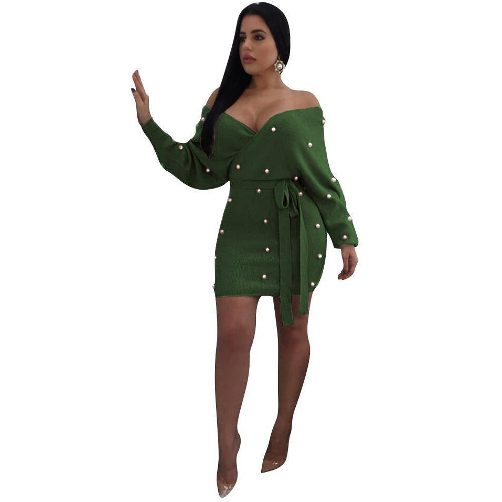 Women Sexy Off Shoulder Backless Dress Pearl Beading Elegant Knitted Dress Bodycon Party Sweater Dress Autumn Fashion Clubwear