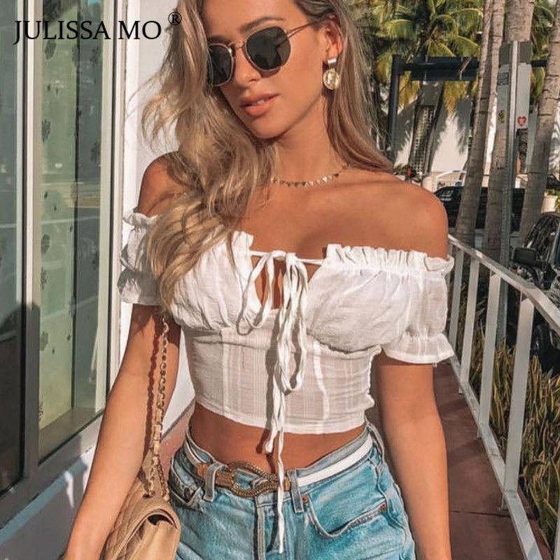 bb807d8f374 2019 JULISSA MO White Summer Strapless Crop Top Women Sexy Off Shoulder  Short T Shirt Elegant Ruffles Lace Up Casual Tank Tops Tees From Biaiju, ...