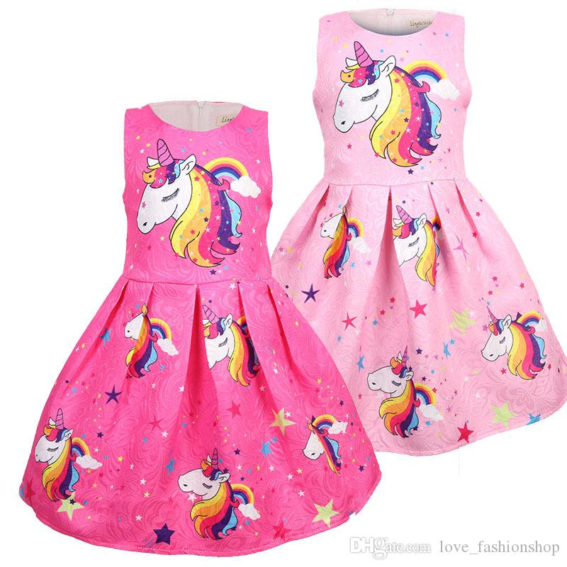 68f9f67cbaf17 2019 Girls unicorn Princess Dress New Summer Horse Printed Cartoon  Sleeveless vest Dresses Kids design Clothing Children boutique clothes