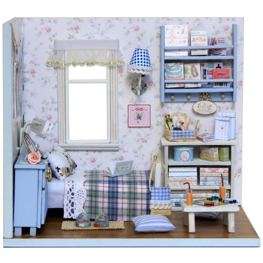 Families diy furniture assembling house toys model made of eco friendly paper unisex casual 3d building house doll house kits wooden dolls house furniture