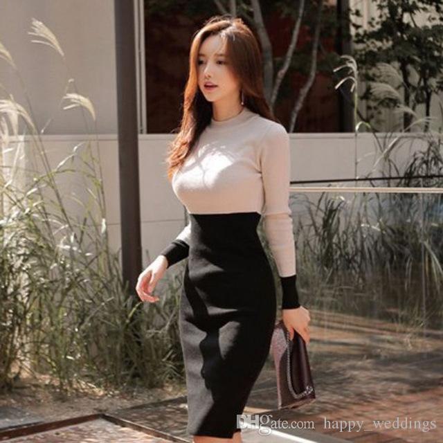 Korean Style Women 2019 Autumn Winter Knitted Dresses Women Warm Long  Sweater Knitted Dresses O Neck Women Dress Long Sleeve Short Long Dress  Long Short ... c950ce3705e3