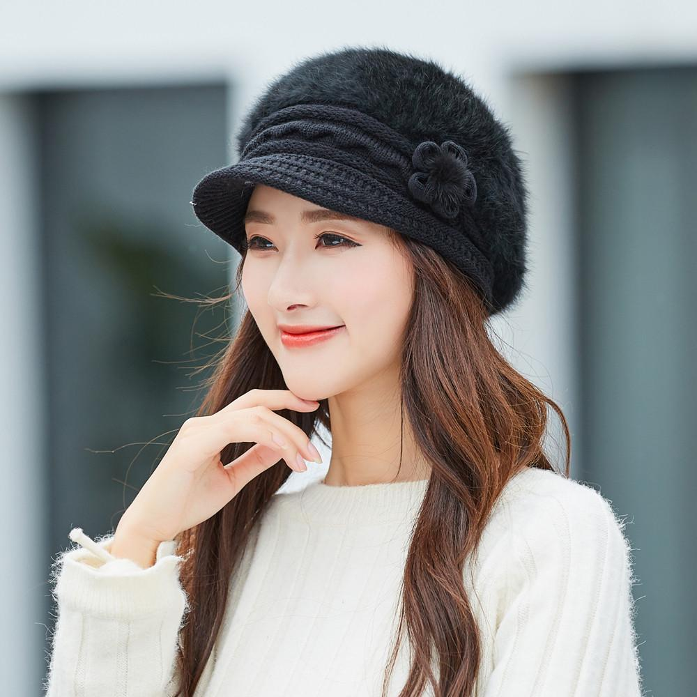 Großhandel Frauen Wintermütze Warme Floral Cap Baskenmütze