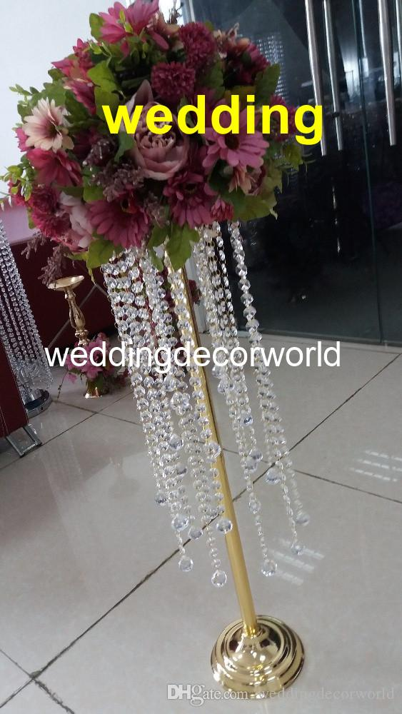 cheap wedding gold acrylic flower stand crystal chandelier table rh dhgate com