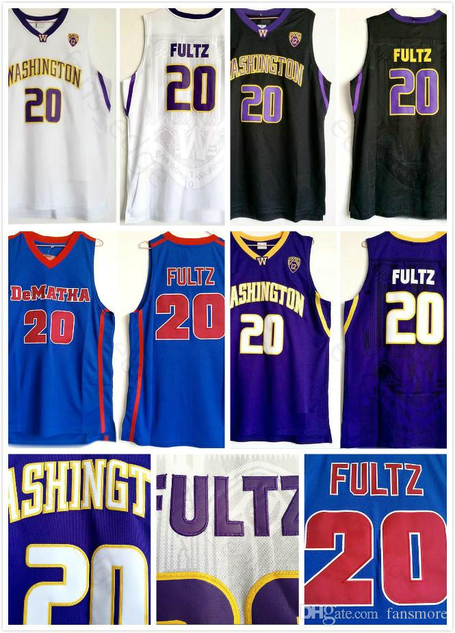 finest selection 19758 f785a Men NCAA College Washington Huskies Jersey Markelle #20 Fultz Purple Black  White DeMatha High School Blue Basketball Jerseys