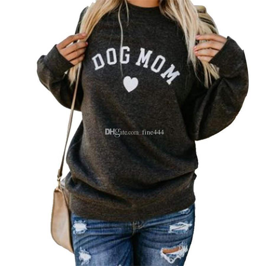 Dog Mom Women's Plus Velvet Fashionable Long Sleeve Casual Sweatshirt Printing Heart-shaped Print Kawaii Sweatshirt Designer Clothing
