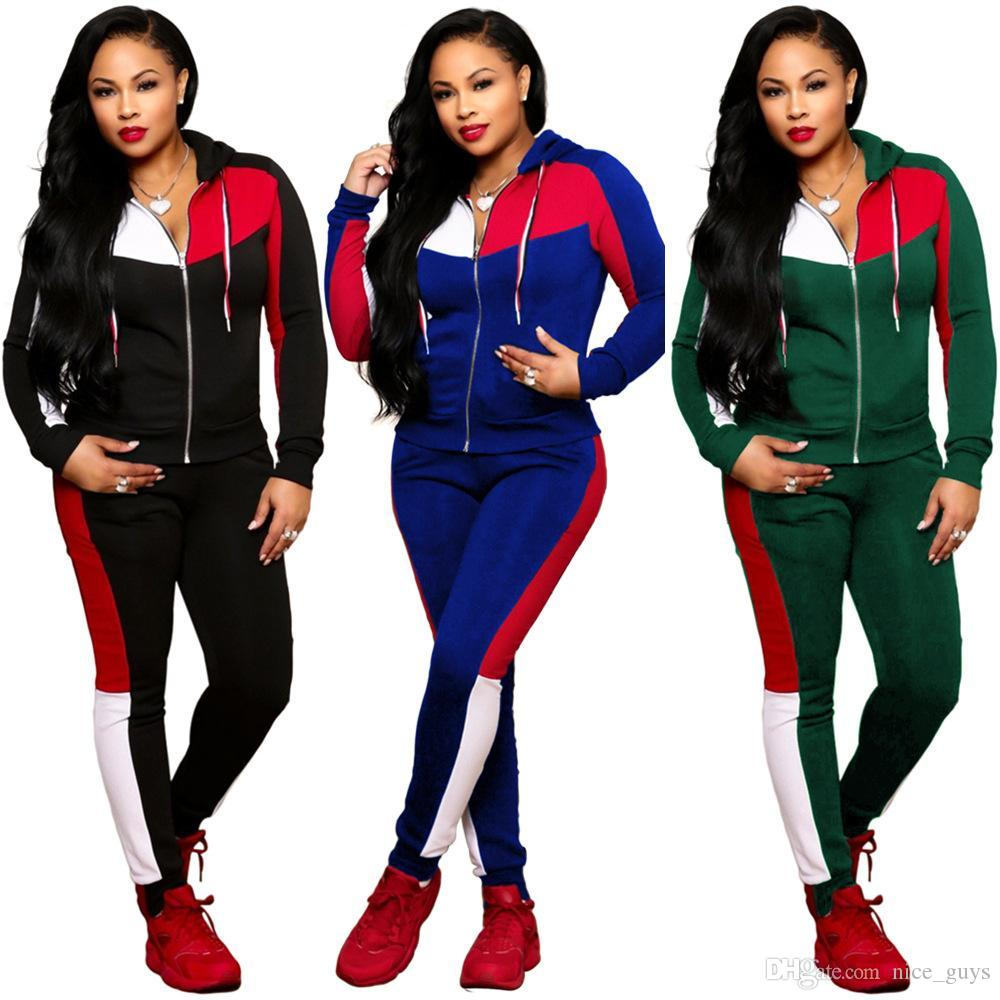d5fceda61aa 2019 New Fashion Women s Sport Suits Patchwork Print Tracksuit Long ...
