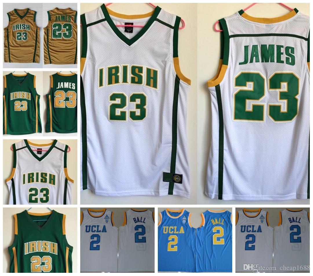 buy online cd2e3 adb0f High School Irish #23 James White Gold LeBron Jersey Green UCLA Bruins #2  Ball Blue Lonzo HOT NCAA College Jerseys