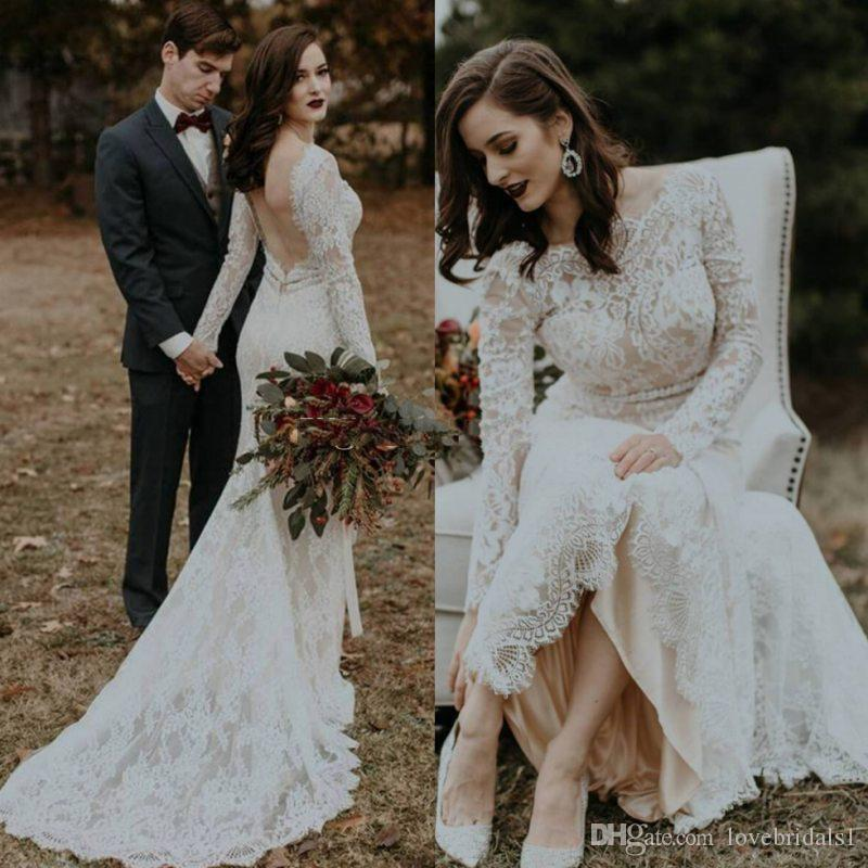 Vintage Full Lace 2019 Wedding Dresses Mermaid Long Sleeves Arabic Bridal Gowns Bateau Neck Sweep Train Wedding Reception Dress Weddings & Events
