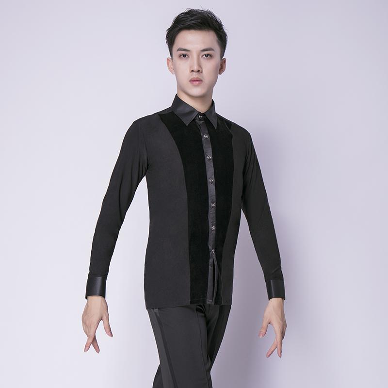 031eb8c86 Nuevo Camisa de baile para hombre Salón de manga larga Salsa moderna Tango  Samba Competencia estándar latina Hombres Camisas Tops de baile Adultos ...