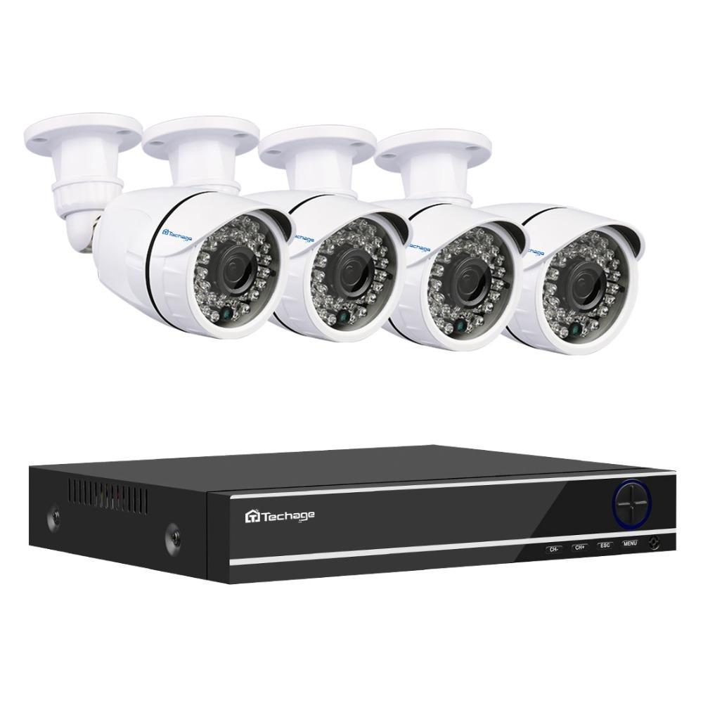Techage XMeye 8CH 1080P AHD DVR 4pcs Camera Kit Security CCTV System 2MP  Night Vision AHD Camera Video Surveillance Set 2TB HDD