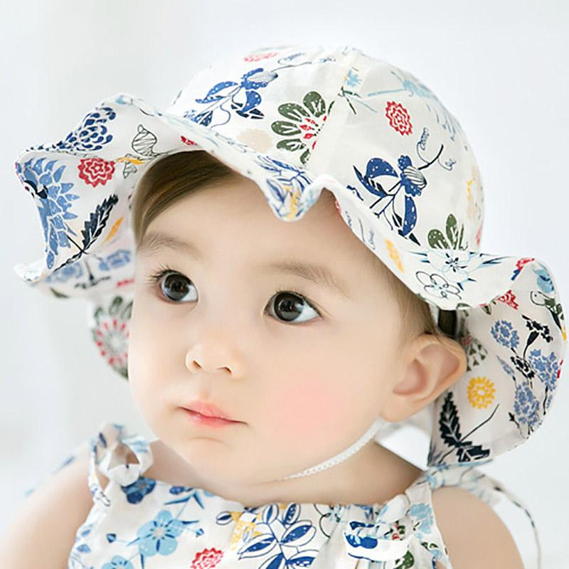 c3e28e60 2019 New Floral Baby Hat Kids Girl Beach Bucket Cap Sun Hats Newborn Infant  Girls Caps Sunhat Spring Summer From Cassial, $35.76 | DHgate.Com