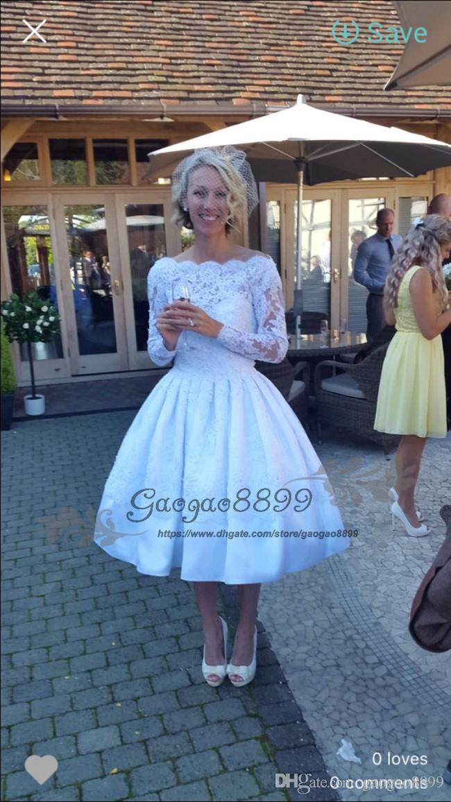 30e4a3c7d5 Discount Vintage Lace Knee Length Long Sleeve Short Hippie Wedding Dresses  2019 Bateau Neck Appliques Embroidery Garden Plus Size Corset Bridal Gowns  ...