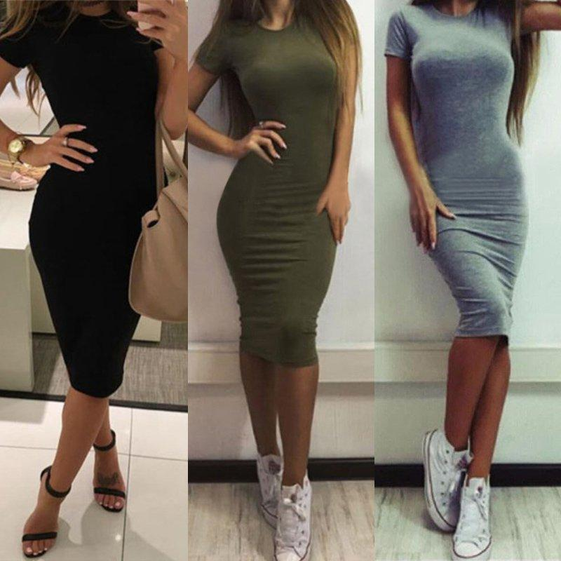 ff6f8cd6720 2019 New Summer Womens Dress Vestido Short Sleeve Slim Bodycon Dress Tunic  Crew Neck Casual Pencil Dress New Arrival Online with  17.97 Piece on ...