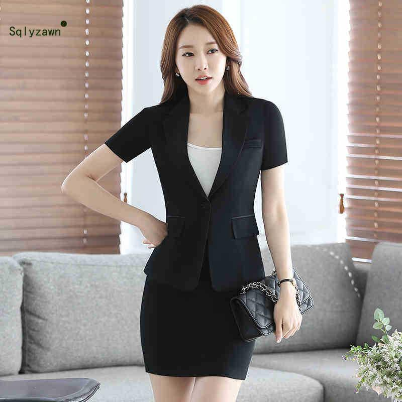 5f27ee4f9e 2019 Work Formal Skirt Suits Set For Women Business Solid Blazer Jacket &  Skirt & Camis Office Lady Workwear Suit Plus Size From Numero, $36.27 |  DHgate.Com
