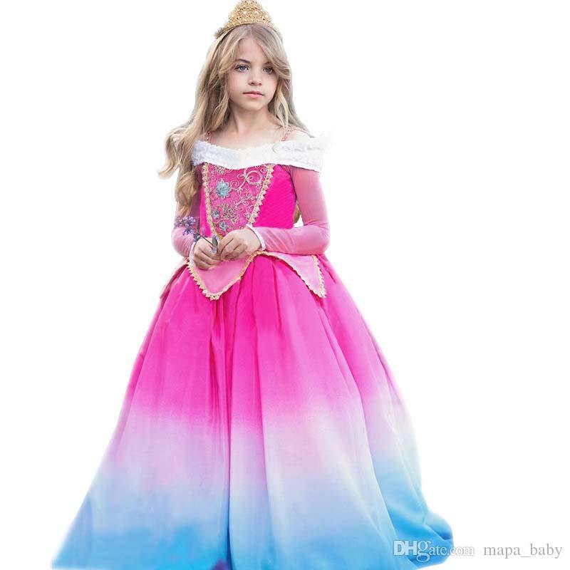 0f9461fe9389 2019 Sleeping Beauty Princess Aurora Girl Dress Party Cosplay Costume For  Halloween Birthday Fancy Halloween Costume Magic Wand Crown From Mapa_baby,  ...