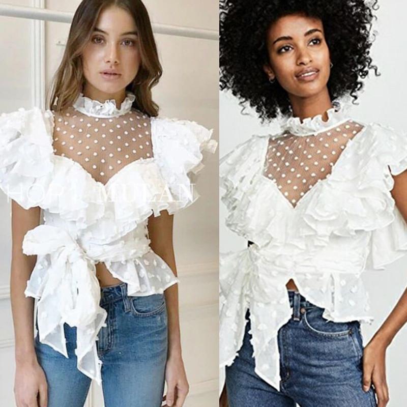 2019 Brand New Vintage женская блузка прозрачная сетка шифон лоскутные рубашки Леди элегантный оборками лук пояс топы Женская одежда