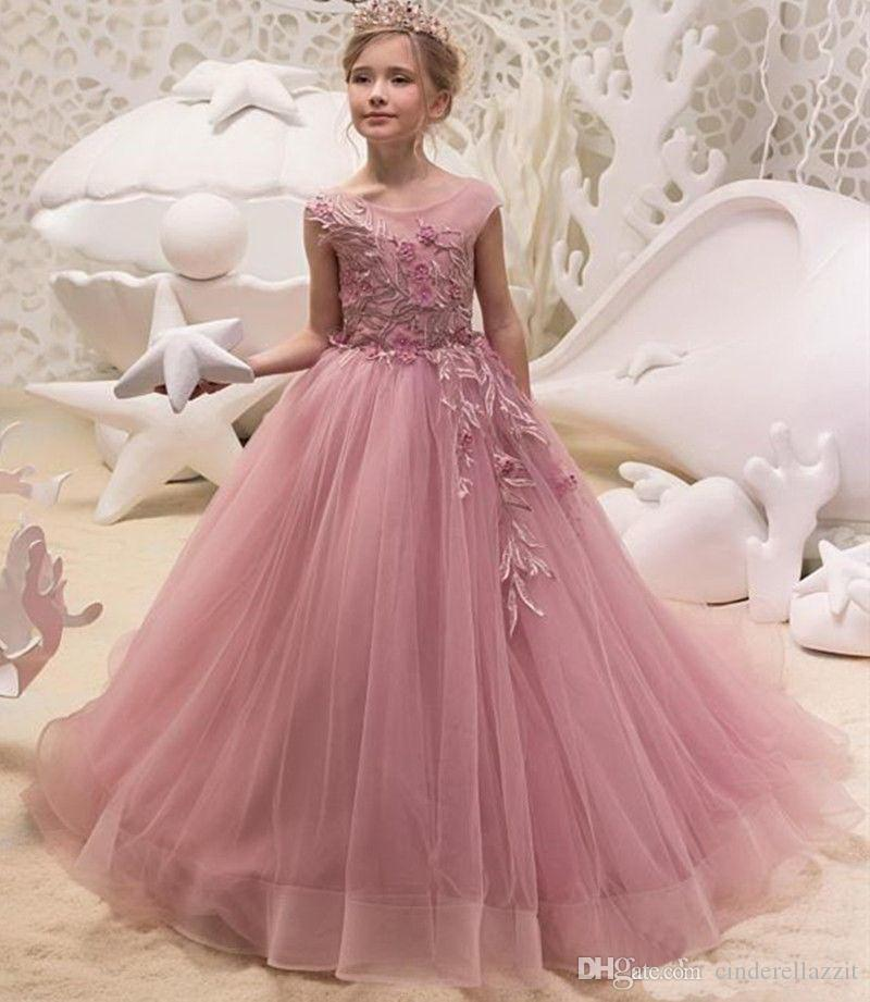 7def2ceeec7 2019 Lace High Low Flower Girls Dresses Princess A Line Knee Length Kids  Birthday Party Gown Communion Dresses With Big Bow Sash Chiffon Flower Girl  Dress ...