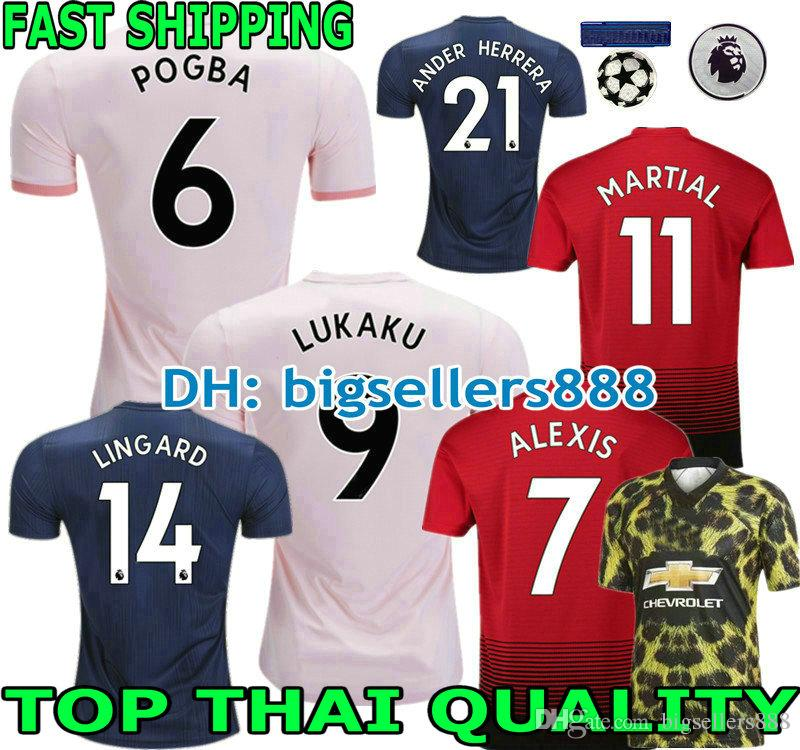 2019 LUKAKU 18 19 ALEXIS POGBA Red Home Soccer Jersey MAN MARTIAL RASHFORD  United LINGARD Adults WOMAN Away Pink UTD Football Shirt 1968 FELLAINI From  ... 2766e374c