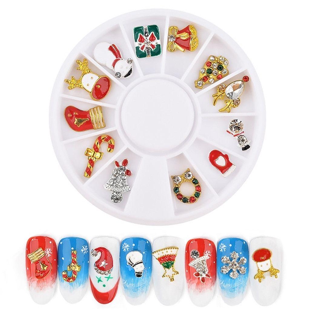 12x Christmas 3d Nail Art Accessories Decals Diy Ornament Decors