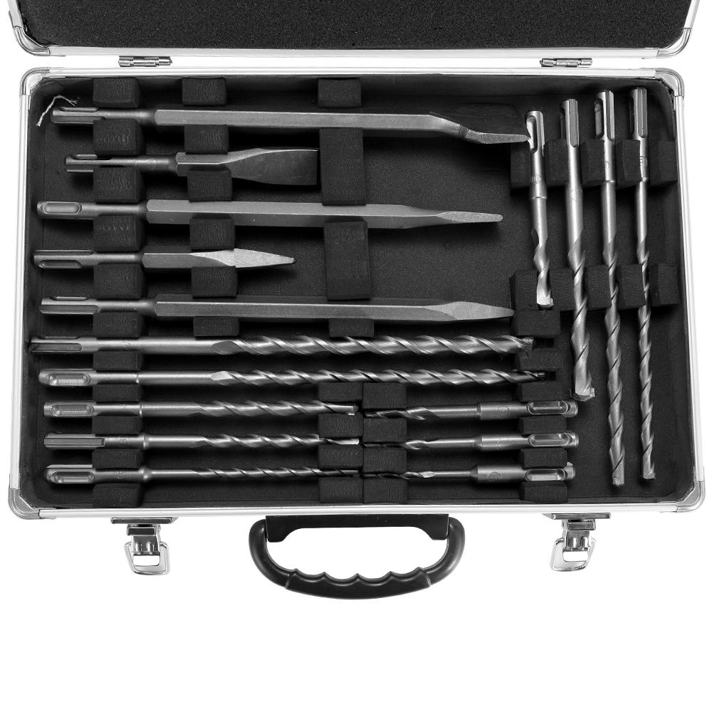 17pcs SDS Drill Bits and Chisels Set for Rotary Hammers Concrete Wall Drilling Grooving Tools Electric Hammer Drill Bits Kit
