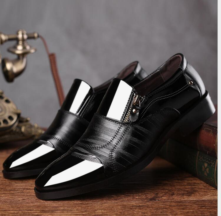 1349b5ae94fe06 2019 New Size 38-48 Dance Shoes Men Leather Pointed Wedding Shoes ...