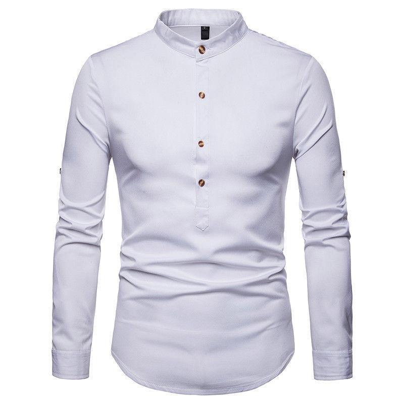 a8ea0c7ac1 Compre Moda Masculina Camisa Casual Slim Fit Camisa Manga Longa Formal Tops  Preto Branco Azul Marinho Roupas De Viviant