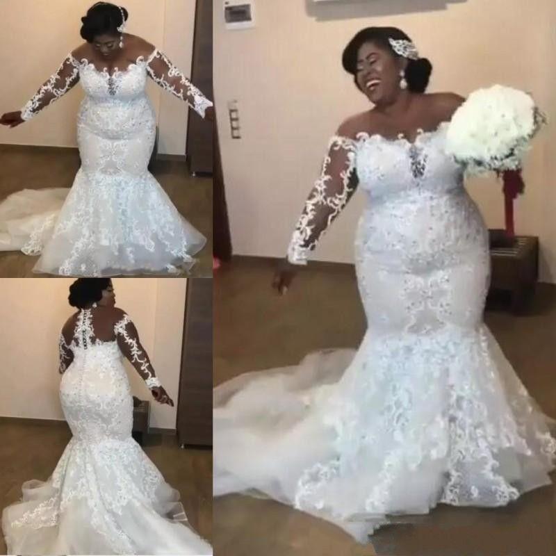 2b04a7abdabe4 2019 Sexy Vintage Plus Size Mermaid Wedding Dresses Bridal Gowns Sheer Neck  Open Back Full Lace Wedding Dress Beach Long Sleeves Tea Length Wedding  Dresses ...