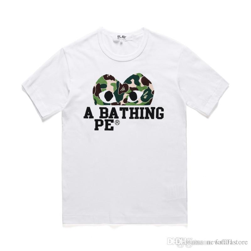 d92a6415 Unisex CDG PLAY Camo Heart A Bathing A Ape Sports Cotton Crew Neck T Shirt  S XL Tee Shirt Designers Funny Print T Shirts From Fafafastore, $40.61|  DHgate.