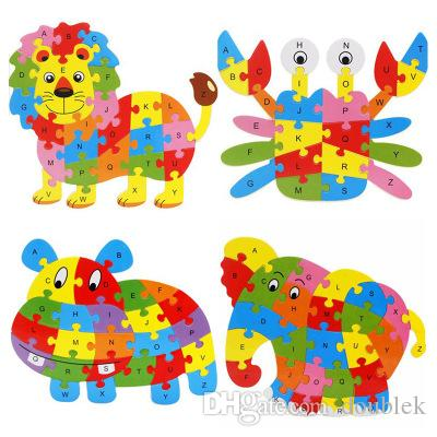 Cute Animal Alphabet Jigsaw For Children Wooden Puzzle Toy Gift Many Styles Hot Sale