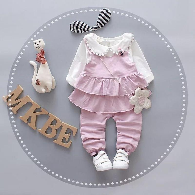 b742dc0722036 Girls Valentines Day Outfit Baby Clothes Fashion Sweet Bow Long Sleeve  T-shirt+Ruffles Vest + Pants Cute Children Clothes Sets