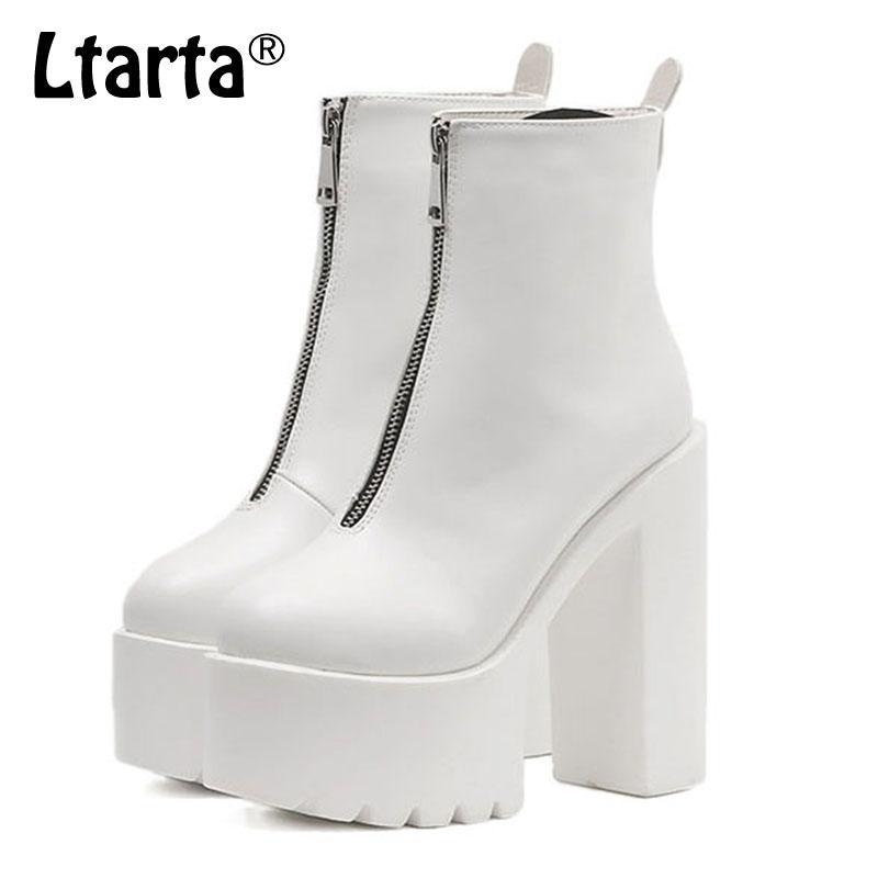 58bc7e43ab4 LTARTA 2019 New Boots Short Platform Waterproof Platform With Zipper High  Heel women's Boots Was Thin Martin JXQ-1888-21