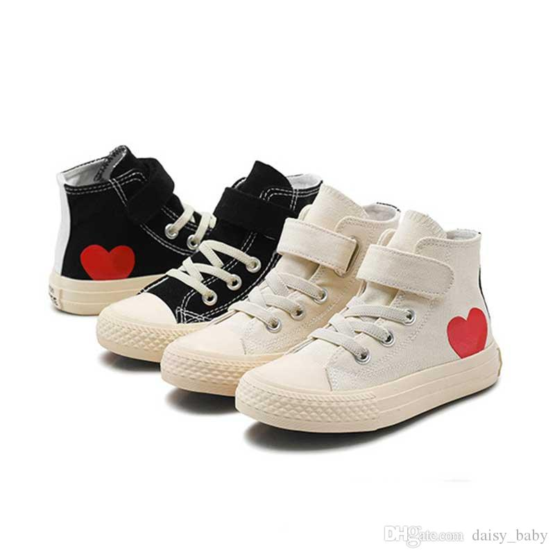 d48a40fb Kids Classic Canvas Shoes For Girl Baby Sneakers 2019 Spring Fashion Love  High Top Canvas Toddler Boy Shoe Child Casual Shoes #65
