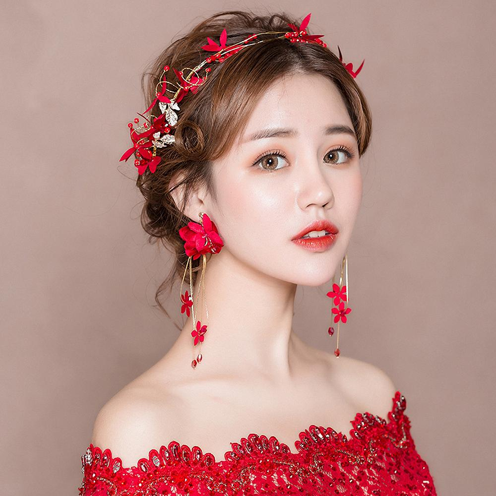 2019 Red Fabric Flower Headband Women Costume Photography Headpiece Hair  Accessories With Drop Earrings Girls Prom Hairbands Handmade From  Guichennecklace 82852c55eac