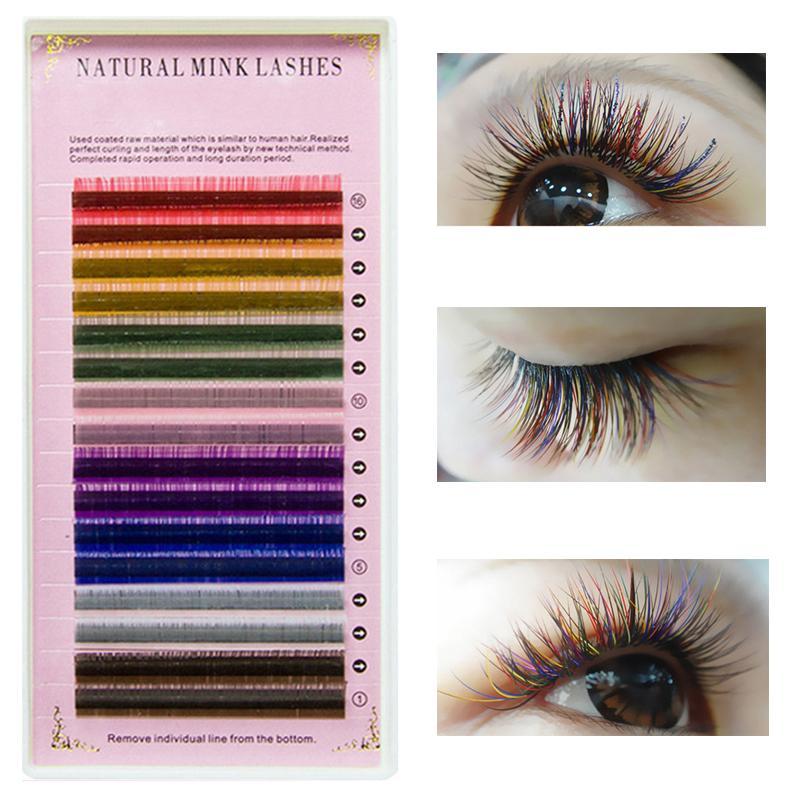 5eeb47a111c ICYCHEER Rainbow Colored Eyelash Extensions 16 Rows Macaron Faux Mink Color  Eyelashes Maquiagem Cilios Colorful Eyelash Red Cherry Eyelashes Best Fake  ...