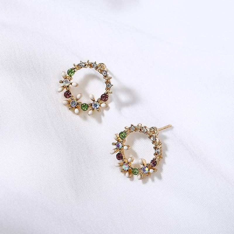 2018 Fashion Jewelry full crystal Flower Stud Earrings for Women party wedding Blossoms simple round Earrings gift ez6