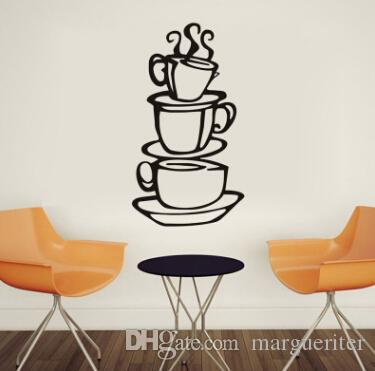 3 Coffee Cups Wall Stickers Removable Kitchen Decor Coffee House Cup