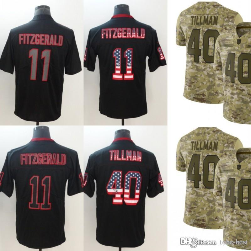 los angeles 7619d 921cd Arizona Jerseys 11 Larry Fitzgerald 40 Pat Tillman Cardinals 2018 Salute to  Service USA Flag Fashion Impact Lights out Black Camo Limited