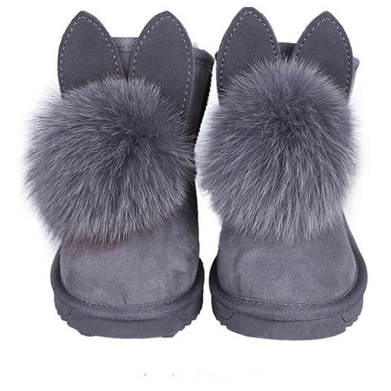 eda512fa3ae 2018 Sheepskin Winter Fashion Children Boot Baby Girl Brand Warm Wool Snow  Boots Toddler Leather Shoes Boys CS1537