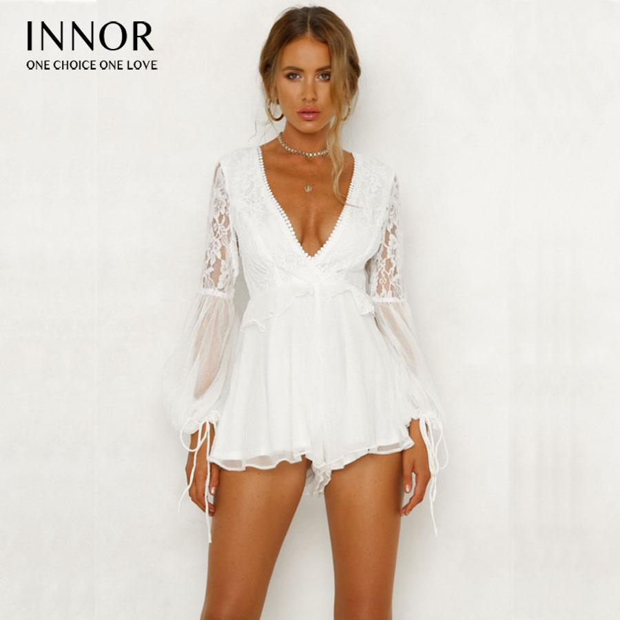 8d120433e13 2019 How Lace Halter White Floral Playsuits Women Backless Bow Summer Beach  Short Rompers Boho Jumpsuits Overall From Lichunn