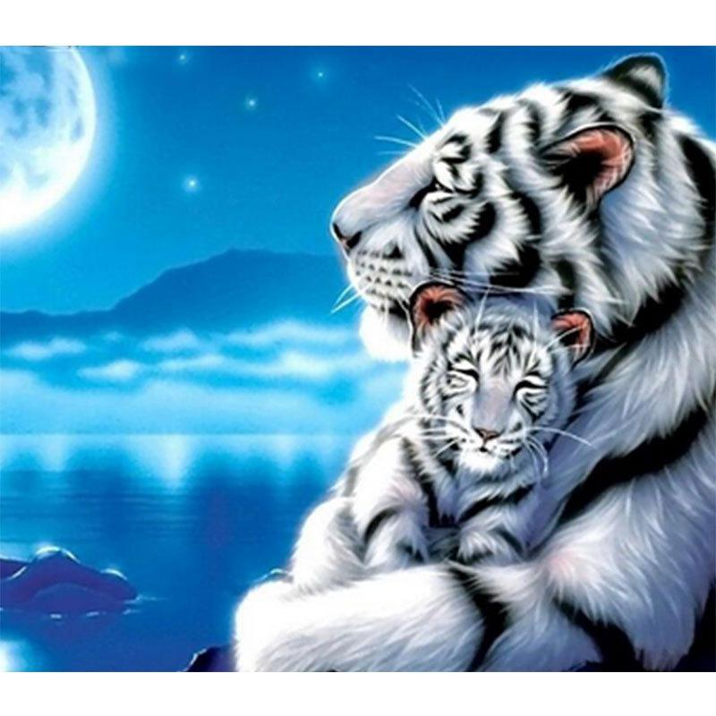 Needle Arts & Crafts Diamond Painting Cross Stitch Full Square Drill Diy Diamond 5d Embroidery Tiger Snow Scene Painting Sale Pictures Mosaic Wall Art Home Decor Handmade Gift